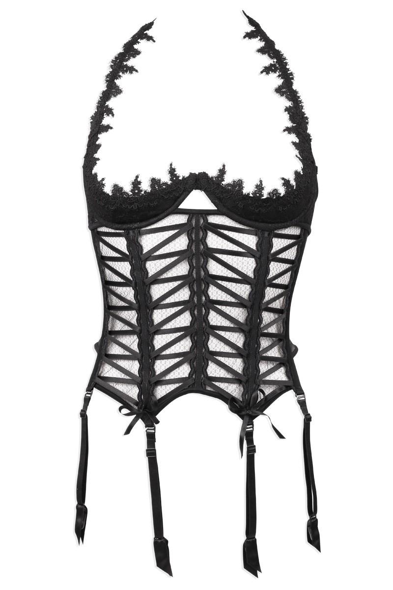 Luxxa : Guêpière demi-seins et string ouvert (lingerie