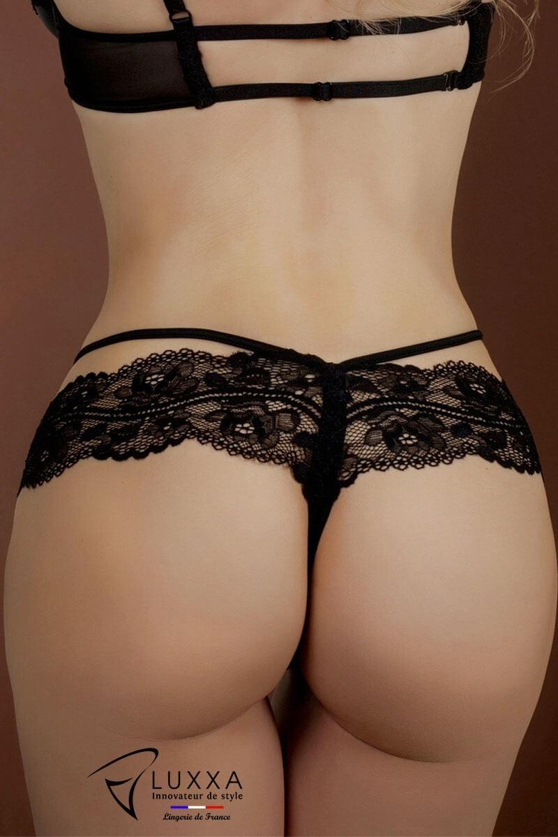 Lace string Réglisse by Luxxa Lingerie