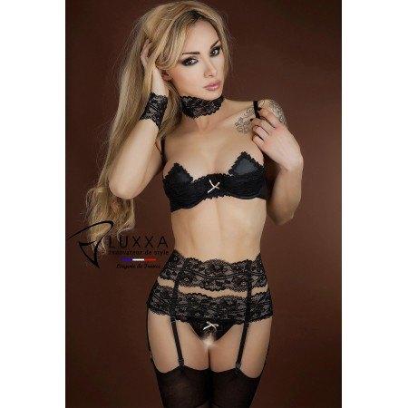 Black lace waist cincher Réglisse by Luxxa Lingerie