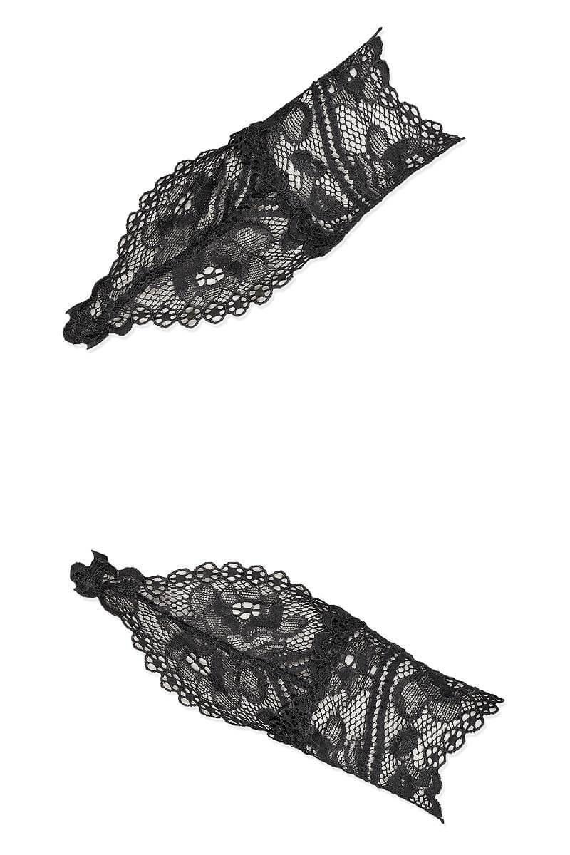 Black lace mittens Réglisse by Luxxa Lingerie
