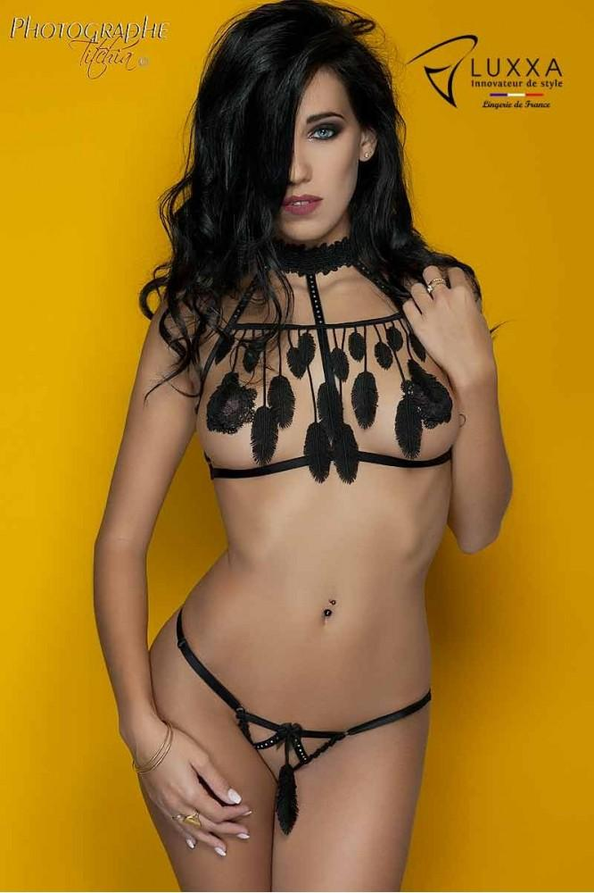 Cachou black cage bra with feathers by Luxxa Lingerie