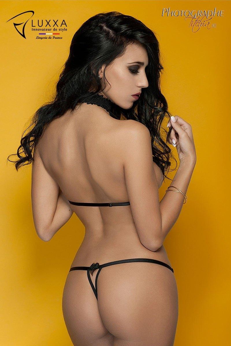 Cachou black harness bra by Luxxa Lingerie