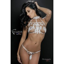 Cachou white cage bra with feathers by Luxxa Lingerie