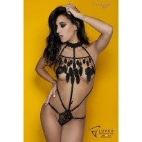 Cachou black cage body with feathers by Luxxa Lingerie