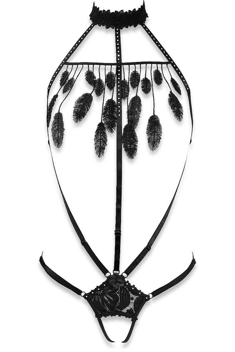 Cachou black adjustable straps body by Luxxa Lingerie