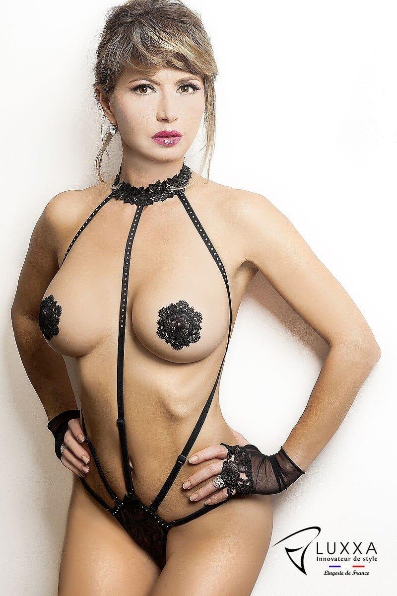 Cachou black harness body by Luxxa Lingerie