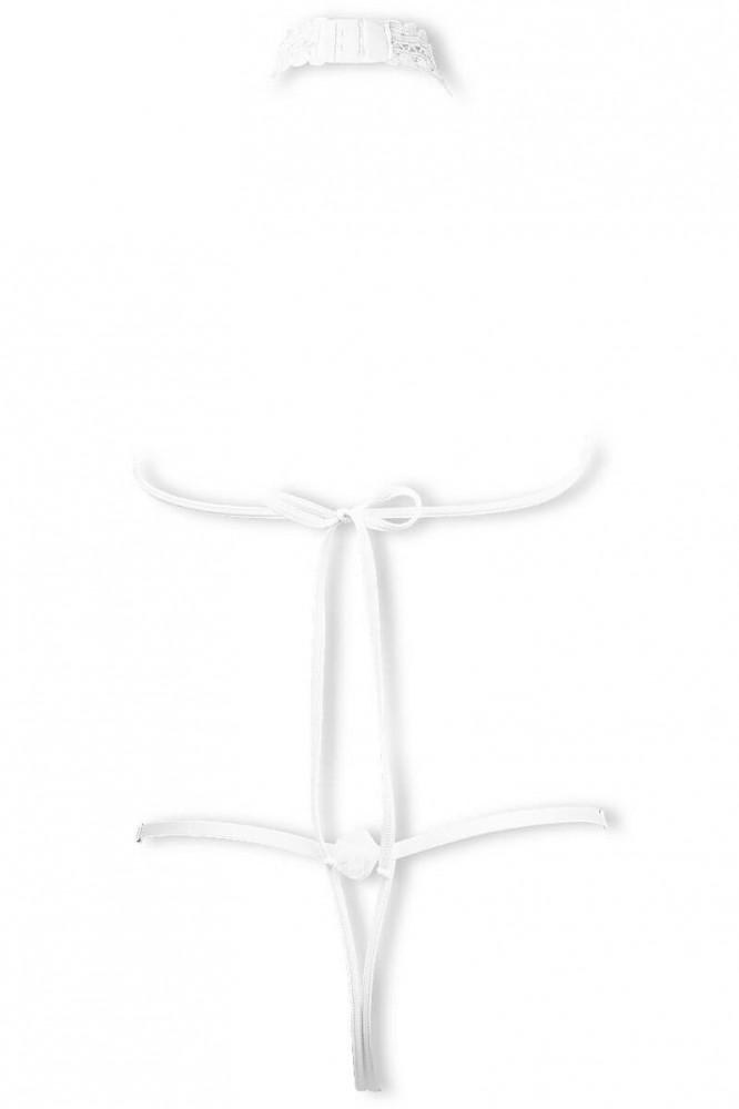 Cachou white open string harness body by Luxxa Lingerie