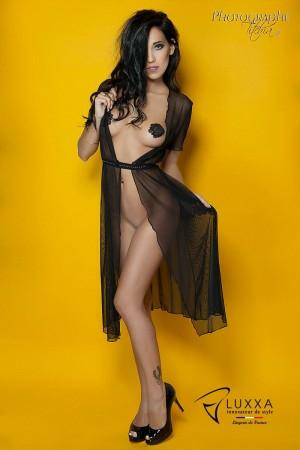 Cachou black long negligee by Luxxa Lingerie