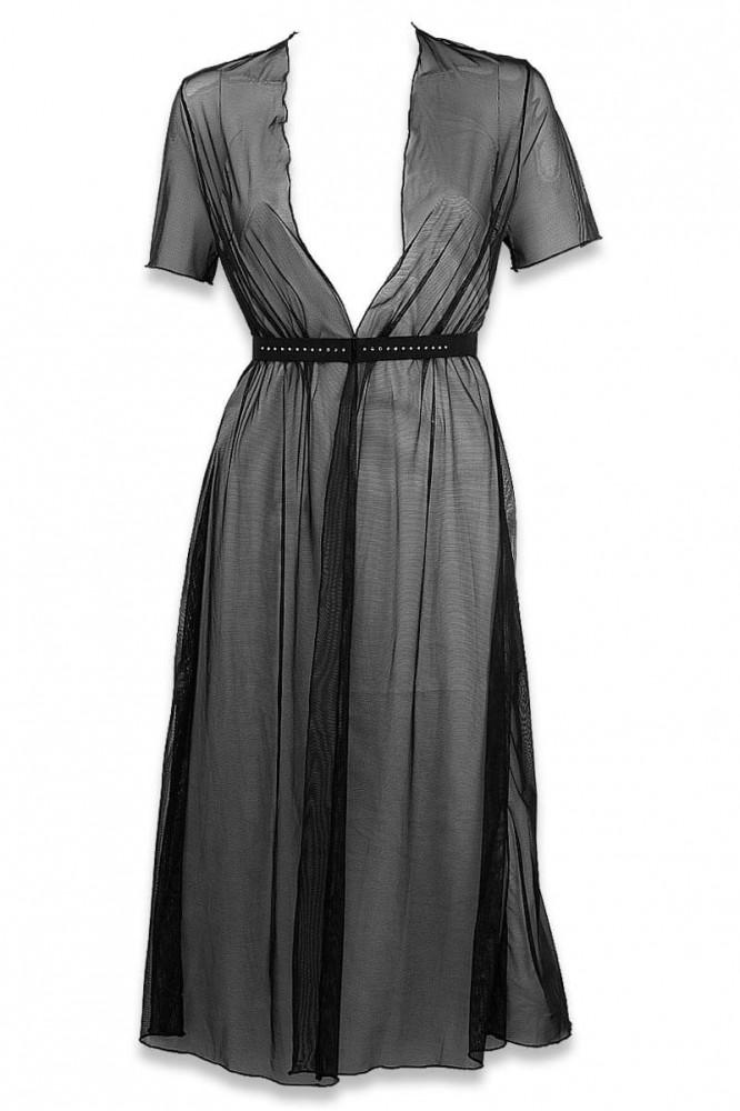 Cachou black belted strass negligee by Luxxa Lingerie