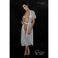 Cachou white long negligee by Luxxa Lingerie